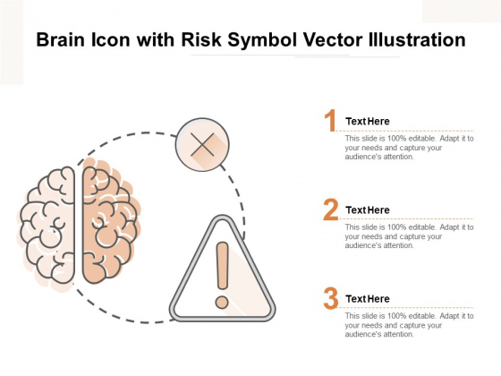 Brain Icon With Risk Symbol Vector Illustration Ppt PowerPoint Presentation Inspiration Slides PDF