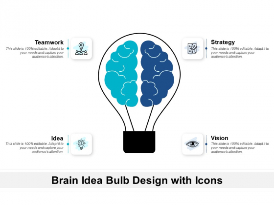 Brain Idea Bulb Design With Icons Ppt PowerPoint Presentation Icon Slides PDF