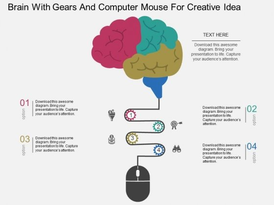 Brain With Gears And Computer Mouse For Creative Idea Powerpoint Template