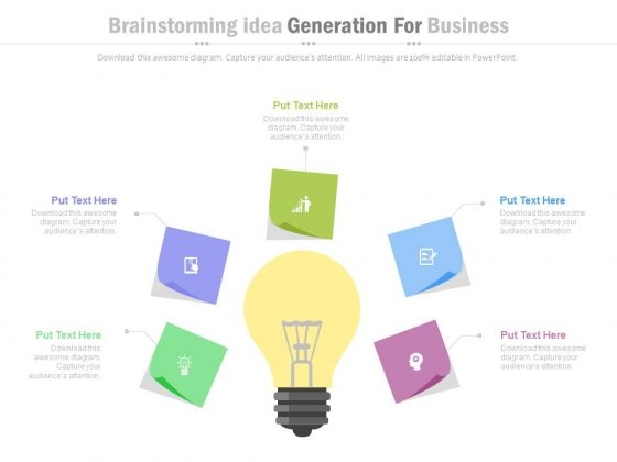 Brainstorming Session With Bulb Infographic Diagram Powerpoint Slides