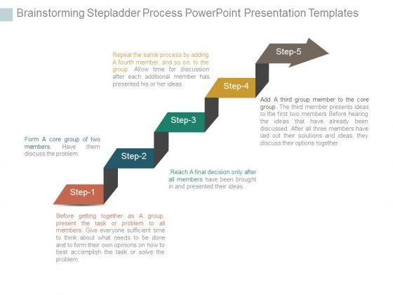 Brainstorming Stepladder Process Powerpoint Presentation Templates