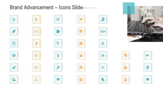 Brand Advancement Icons Slide Ppt PowerPoint Presentation Icon Tips PDF