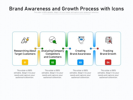 Brand Awareness And Growth Process With Icons Ppt PowerPoint Presentation Gallery Background Image PDF