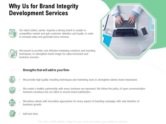 Brand Identification Designing Proposal Why Us For Brand Integrity Development Services Microsoft PDF