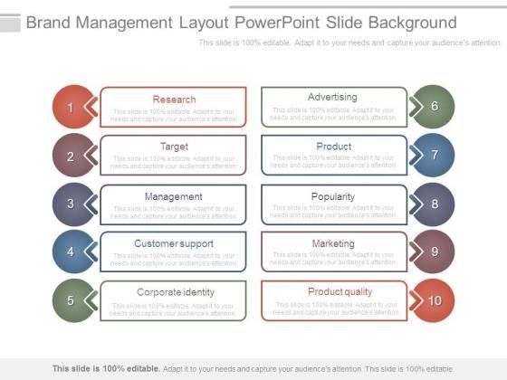 Brand Management Layout Powerpoint Slide Background