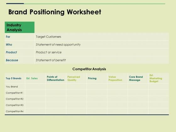 Brand Positioning Worksheet Ppt PowerPoint Presentation Icon Portrait
