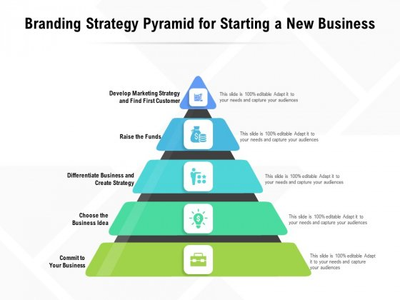 Branding Strategy Pyramid For Starting A New Business Ppt PowerPoint Presentation File Design Templates PDF