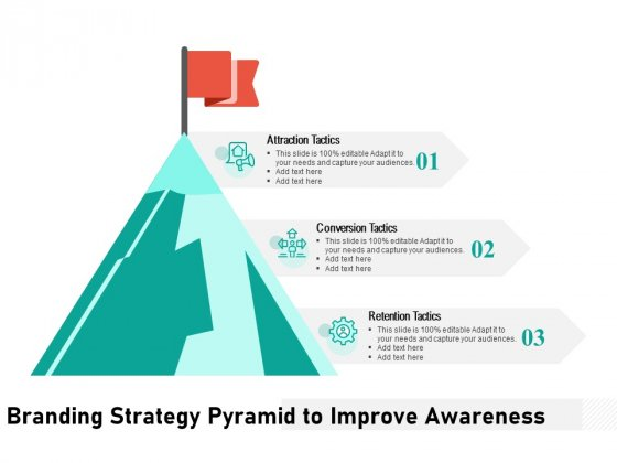Branding Strategy Pyramid To Improve Awareness Ppt PowerPoint Presentation Gallery Example PDF