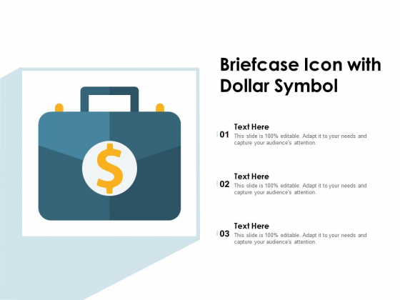 Briefcase Icon With Dollar Symbol Ppt PowerPoint Presentation File Vector