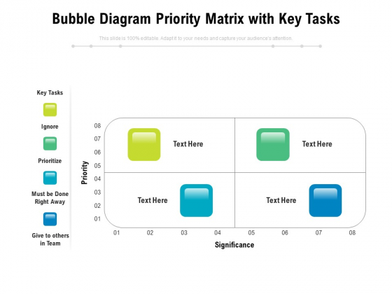 Bubble Diagram Priority Matrix With Key Tasks Ppt PowerPoint Presentation Outline Tips PDF