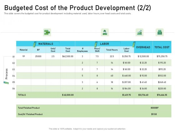 Budgeted Cost Of The Product Development Graphics PDF