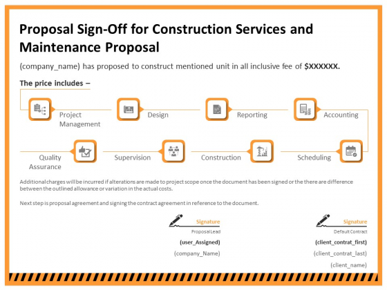Building Assembly Conservation Solutions Proposal Sign Off For Construction Services And Maintenance Proposal Designs PDF