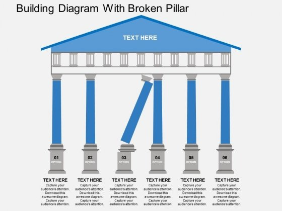 Building Diagram With Broken Pillar Powerpoint Template