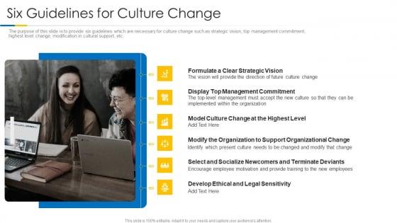 Building Efficient Work Environment Six Guidelines For Culture Change Slides PDF