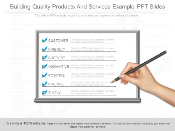Building Quality Products And Services Example Ppt Slides