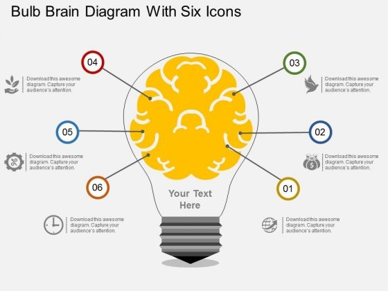 Bulb Brain Diagram With Six Icons Powerpoint Template