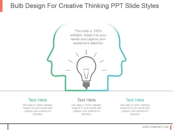 Bulb Design For Creative Thinking Ppt Slide Styles