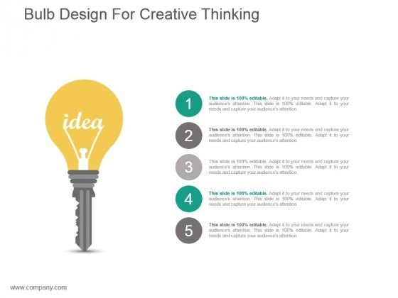 Bulb Design For Creative Thinking Process Powerpoint Ideas