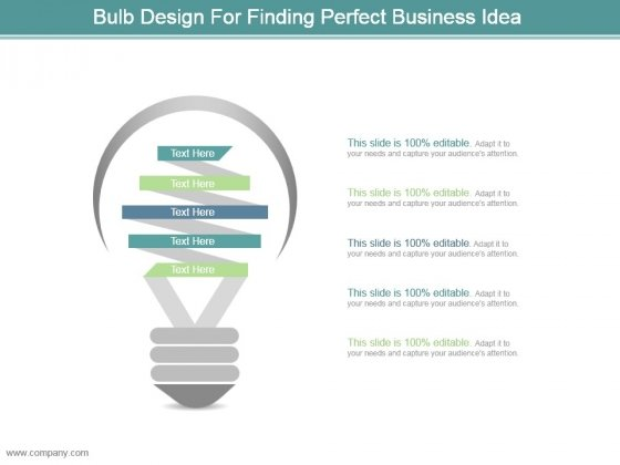 Bulb Design For Finding Perfect Business Idea Sample Ppt Presentation