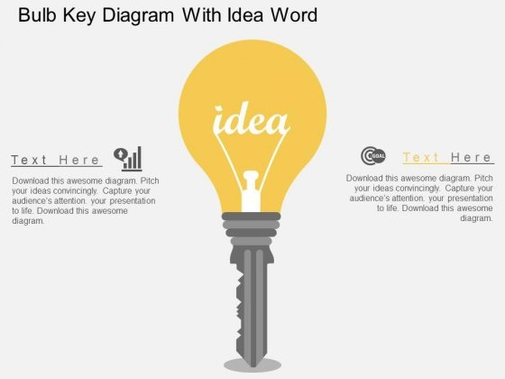 Bulb Key Diagram With Idea Word Powerpoint Templates