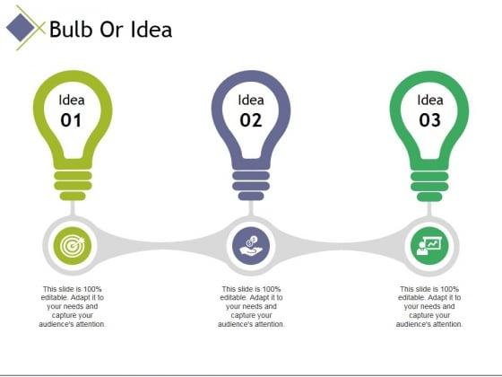 bulb or idea ppt powerpoint presentation icon sample