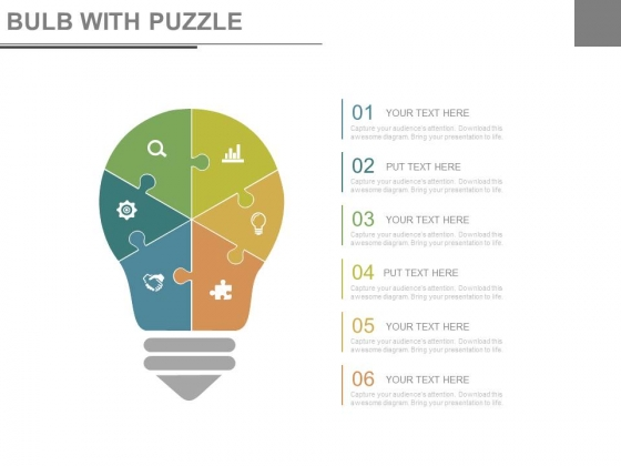 Bulb Puzzle Design With Business Icons Powerpoint Slides