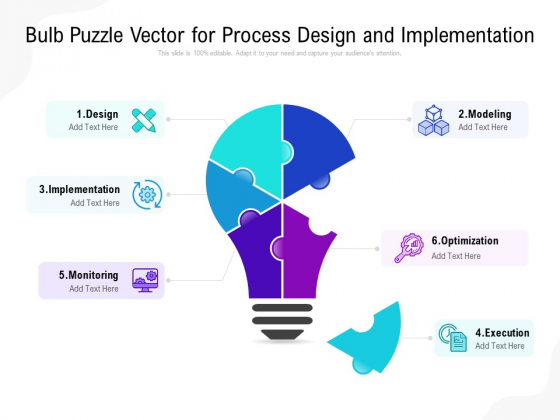 Bulb Puzzle Vector For Process Design And Implementation Ppt PowerPoint Presentation Slides Example File