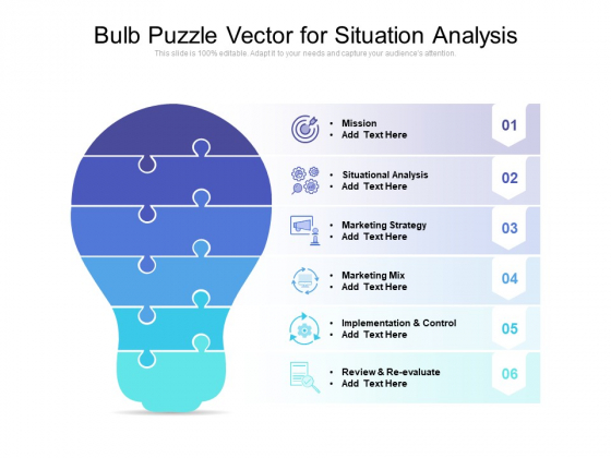 Bulb Puzzle Vector For Situation Analysis Ppt PowerPoint Presentation Portfolio Example