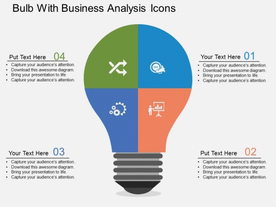 Bulb With Business Analysis Icons Powerpoint Templates