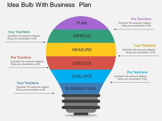 Bulb With Business Planning Steps Powerpoint Template