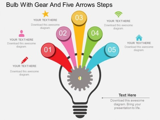 Bulb With Gear And Five Arrows Steps Powerpoint Template