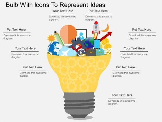Bulb With Icons To Represent Ideas Powerpoint Templates