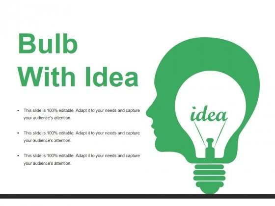 Bulb With Idea Ppt PowerPoint Presentation Styles Graphics Template