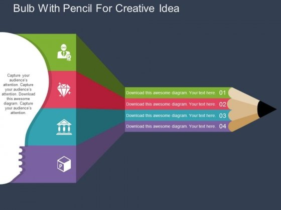 Bulb With Pencil For Creative Idea Powerpoint Templates