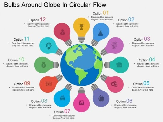 Bulbs Around Globe In Circular Flow Powerpoint Template