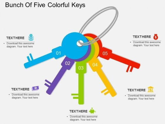 Bunch Of Five Colorful Keys Powerpoint Templates
