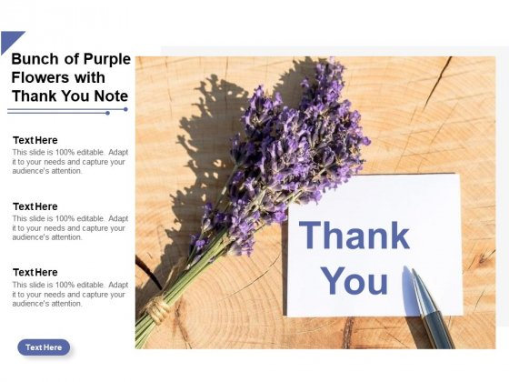 Bunch Of Purple Flowers With Thank You Note Ppt Powerpoint Presentation Gallery Design Ideas