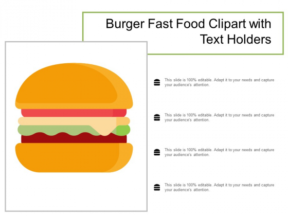 Burger Fast Food Clipart With Text Holders Ppt Powerpoint