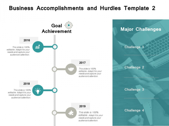 Business Accomplishments And Hurdles 2016 To 2019 Ppt PowerPoint Presentation Infographic Template