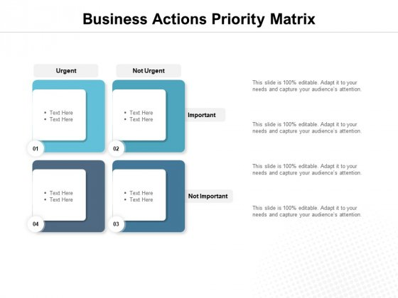 Business Actions Priority Matrix Ppt PowerPoint Presentation Infographic Template Mockup