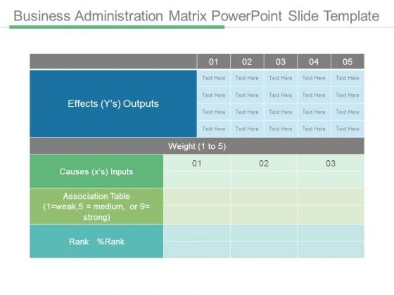Business Administration Matrix Powerpoint Slide Template