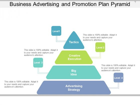 Business Advertising And Promotion Plan Pyramid Ppt PowerPoint Presentation Infographics Slides PDF