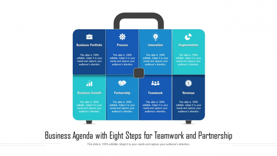Business Agenda With Eight Steps For Teamwork And Partnership Ppt Show Slideshow PDF