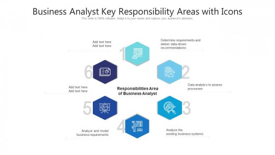 Business Analyst Key Responsibility Areas With Icons Ppt PowerPoint Presentation Gallery Gridlines PDF