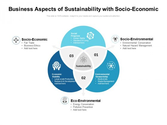 Business Aspects Of Sustainability With Socio Economic Ppt PowerPoint Presentation Gallery Slide PDF