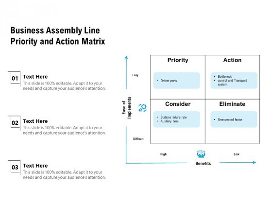 Business Assembly Line Priority And Action Matrix Ppt Powerpoint Presentation Inspiration Diagrams Pdf