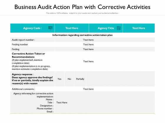 Business Audit Action Plan With Corrective Activities Ppt PowerPoint Presentation Show Example PDF