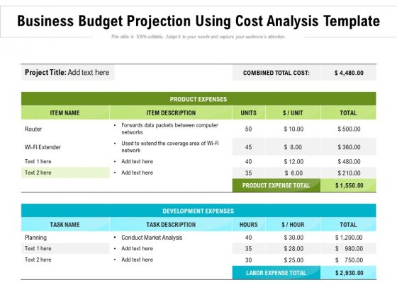 Business_Budget_Projection_Using_Cost_Analysis_Template_Ppt_PowerPoint_Presentation_File_Deck_PDF_Slide_1
