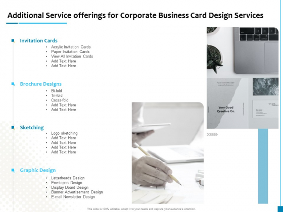 Business Card Design Services Additional Service Offerings For Corporate Business Card Design Services Designs PDF