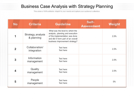 Business Case Analysis With Strategy Planning Ppt PowerPoint Presentation File Icon PDF